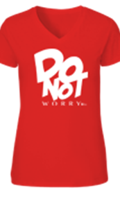 Do Not Worry Red V-Neck T-shirt 2X